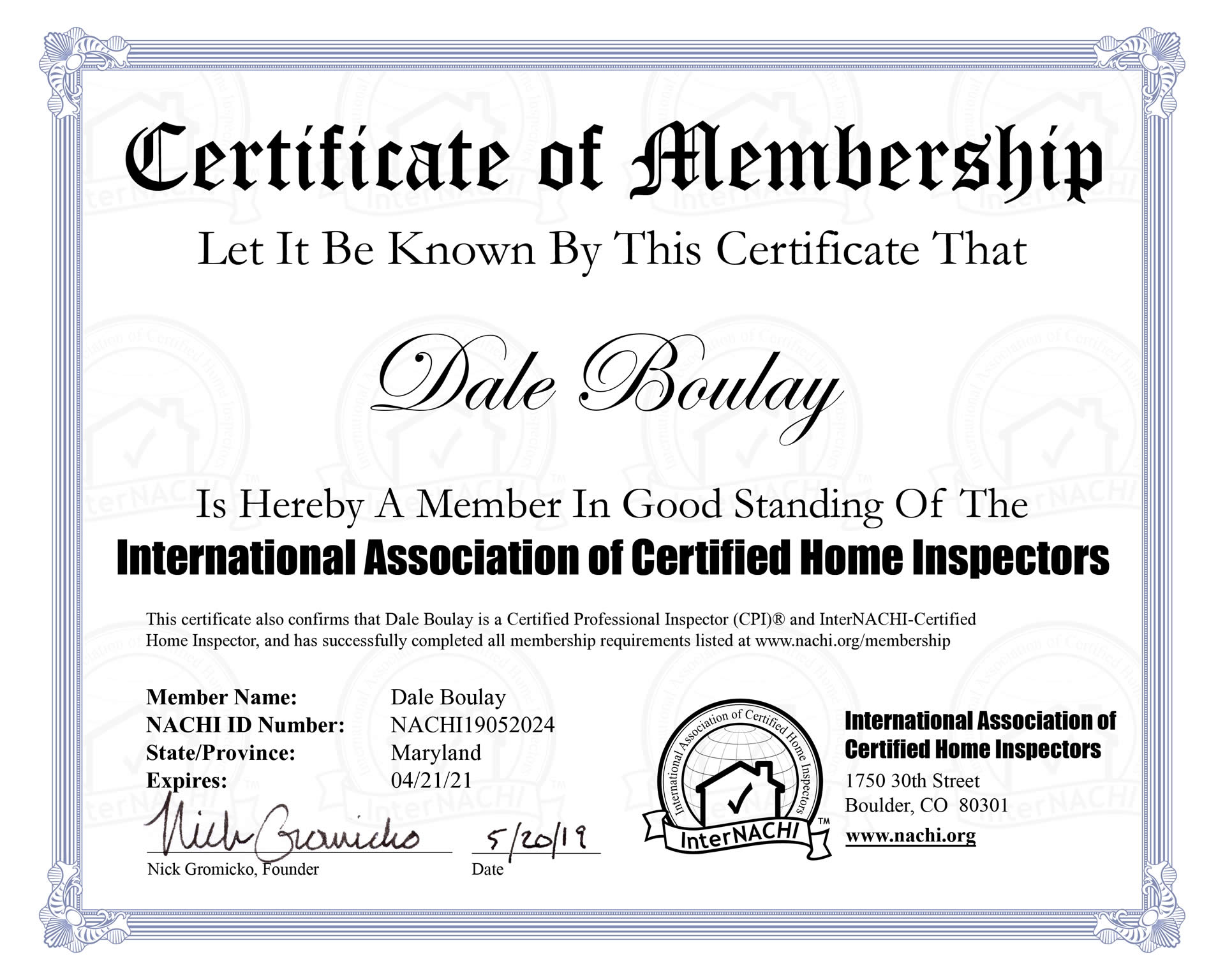 InterNACHI Certificate of Membership Maryland