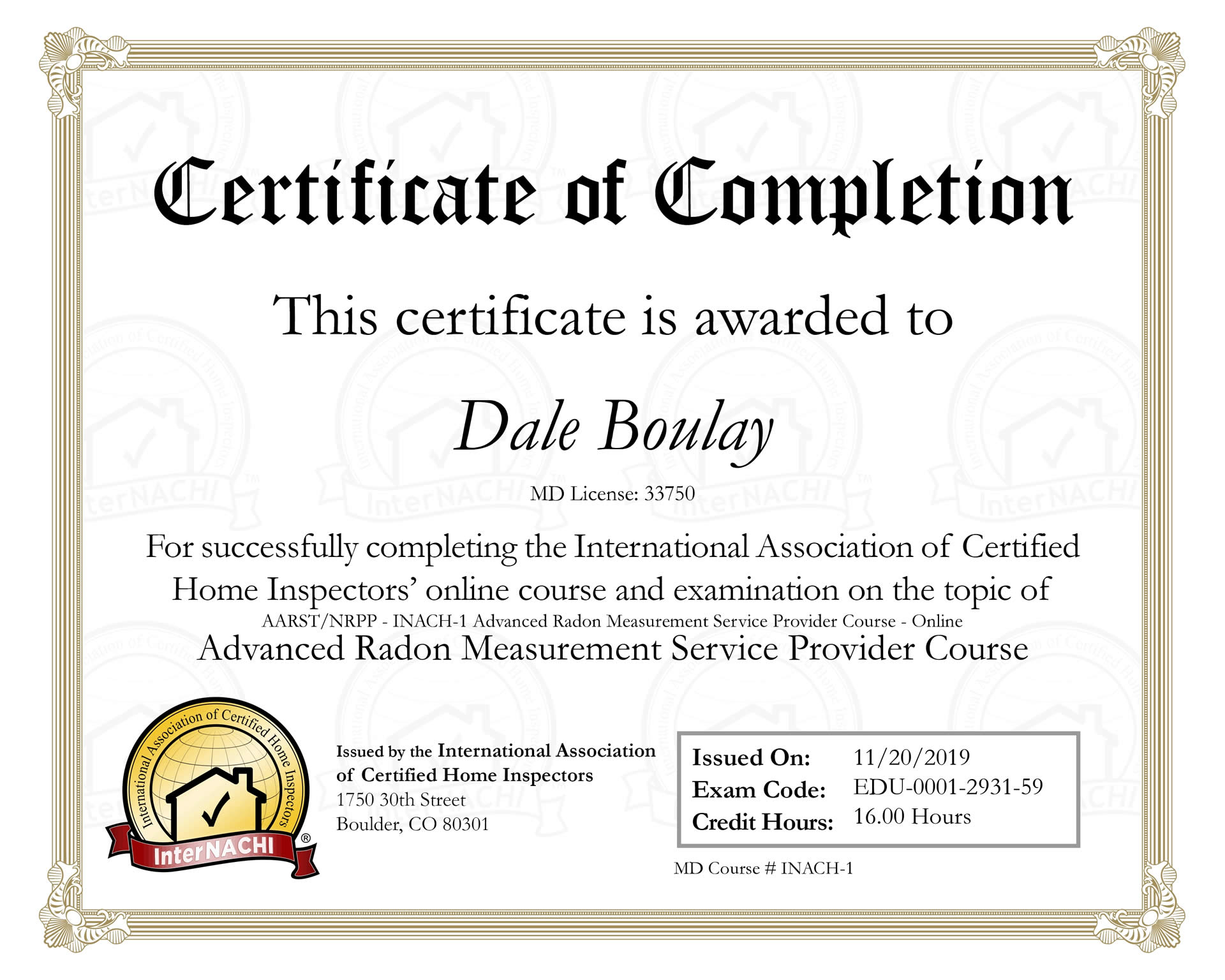 InterNACHI Certificate of Completion Maryland